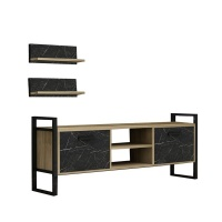 Decorist Home Gallery Sidre Safire Oak Black Marble - TV Stand Photo