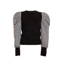 Quiz Ladies Black Gingham Puff Sleeve Jumper - Black Photo