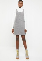 Women's New Look Corduroy Deep V Pinafore - Mid Grey Photo