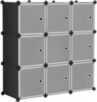 LASA 9-Cube Plastic Closet Cabinet Bookcase Shelving with Doors Photo