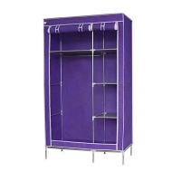 BetterBuys Double Canvas Storage Wardrobe Cupboard With Protective Cover - Purple Photo