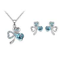 Lucky Three Leaf Clover Necklace and Earring Set with crystals from Swarovski Photo