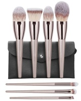 Professional 7-Piece Make Up Brush Set Rose Gold with Black Pouch Photo
