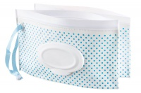4aKid - Reusable Wet Wipes Pouch For Cleaning Up - 2 Pack - Blue Dots Photo