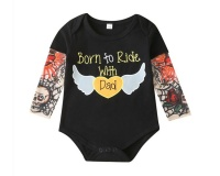 Born To Ride With Dad Baby Romper Black - 3 - 6 Months Photo