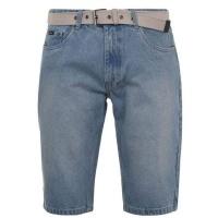 Pierre Cardin Mens Belt Denim Shorts - Light Blue [Parallel Import] Photo