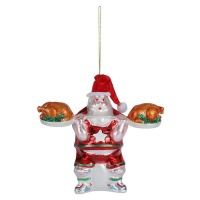 AK Glass Weight Lifting Santa Christmas Decoration Photo