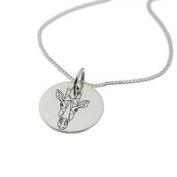 Geometric Giraffe Sterling Silver Necklace with Chain Photo