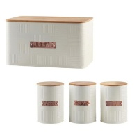 Totally Home Breadbin Steel Design with Bamboo Lid with 3 Piece Canister Set - Cream Photo