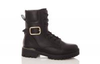 Quiz Ladies Black Faux Leather Lace Up Boots - Black Photo