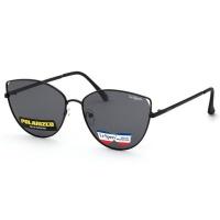 Lespecs Metal Cat-Eye Ladies Smoke Solid Polarized Lens Sunglasses - Shiny Black Photo