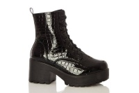 Quiz Ladies Black Crocodile Effect Chunky Ankle Boots - Black Photo