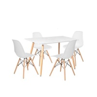 Rectangular Table & 4 Chairs - White Photo