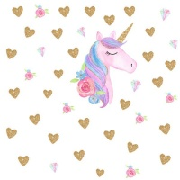 AOOYOU Unicorn Head and Golden Hearts Art Sticker for Wall Decoration Photo