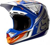 Fox Racing Fox V4 Intake Blue/White Helmet Photo