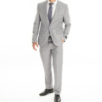 Men's Briggs 2 Piece Suit - StatesMan - Light Grey Photo
