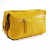 Bag Addict NUVO - Genuine leather WP-05 Toiletry Bag - Mustard Yellow Photo