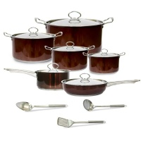 Conic 15 Piece Stainless Steel Heavy Bottom Cookware Set - Brown Photo