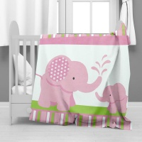 Print with Passion Pink Elephants Minky Blanket Photo