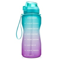 SKAULT - Large 2L Motivational Water Bottle Time Markers & Straw BPA Free Photo