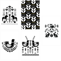 The Nordic Collection Nordic Scandianvian Greeting Gift Cards Set - Multi 5 Pack - Sort & Hvid Photo