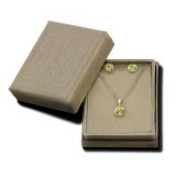 Shimansky 14KY Round Peridot Fancy Gem Pendant & Earring Set Photo