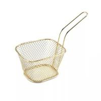13cm Deep Fryer Wire Mesh Fry Basket Square - Gold Photo