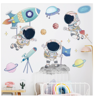 AOOYOU Planet and Spaceman Cartoon Vinyl Art Sticker for Wall Decoration Photo