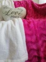 Premium Reversible Sherpa Fleece Throw Blanket-Cerise White Photo