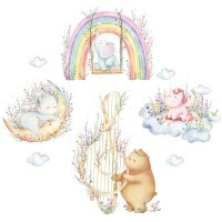 AOOYOU Dreaming Cartoon Animals Vinyl Art Sticker for Wall Decoration Photo