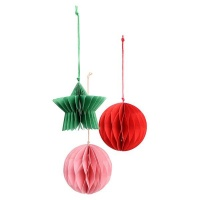 AK Multi Coloured Paper Christmas Decorations - Pack of 8 Photo