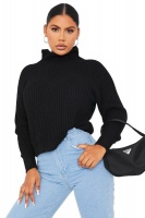 I Saw it First - Ladies Black High Neck Ribbed Balloon Sleeve Jumper Photo