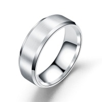 8mm Titanium-Plated Stainless Steel Ring - Silver Photo