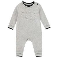 Firetrap Baby Boys Fleece Romper - Grey Emboss Photo