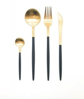 Black and Gold Moon Design Stainless Steel Cutlery Set of 4 Pieces Photo
