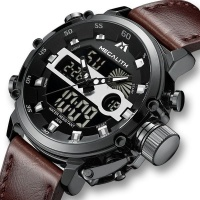 Megalith Men's Dual Display Genuine Leather Watch - Gun Metal Photo