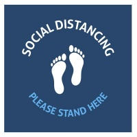 Please Stand Here - Square - Anti Slip - Floor Vinyl - Kepler - Set Of 8 Photo