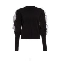 Quiz Ladies Black Knitted Chiffon Frill Jumper - Black Photo