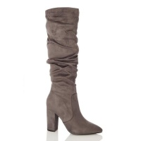 Quiz Ladies Grey Ruched Knee High Boots - Grey Photo