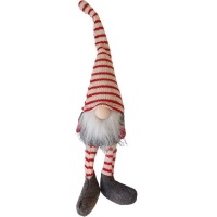 The Nordic Collection Nordic Red & White Striped Sitting Christmas Gnome Dangly Legs 38CM Photo