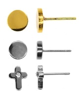 Androgyny 3 Pairs Earring Studs Stainless Steel SS013 Photo