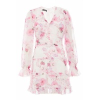 Quiz Ladies Chiffon Floral V Front Dress - White Photo