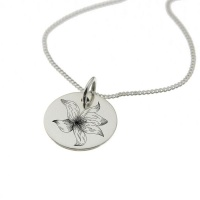 Gladiolus Flower Necklace With 'Keep Going' Engraved On The Reverse Photo