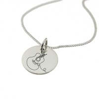 Guitar Engraved on Sterling Silver with Chain Photo