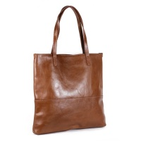NUVO Isola Genuine Leather Shopper Handbag Tan Photo