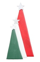 Christmas Trees - Set of Three - Red White Green Photo
