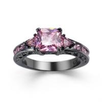 Black/Silver Rhodium Zircon Ring for Women Fashion Jewelry Wedding Rings Photo