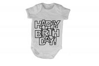 Happy Birthday - Letter Design - Short Sleeve - Baby Grow Photo