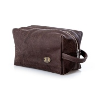 Nelly Bags - Mens Shaving Bag to Hold Your Grooming Stuff - Brown Leather Photo