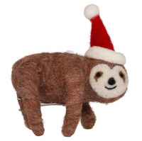 AK Felt Santa Hat Sloth Clips Christmas Decorations - Pack of 3 Photo